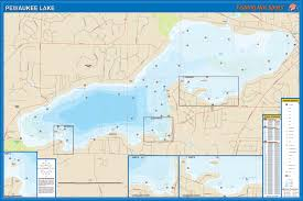 Wisconsin Topographic Map by Lake Fishing Map