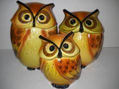 owl canisters for the kitchen metlox poppytrail ceramic owl kitchen set cookie jar
