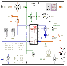 a battery powered burglar alarm circuit with a timed siren cut off
