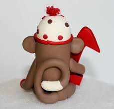 sock monkey birthday cake topper w number 3 inch by spiritmama