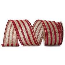 burlap wired ribbon striped wired edge burlap ribbon 2 1 2 hobby lobby 42249