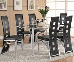 coaster los feliz contemporary metal table and black upholstered coaster los feliz dining table and chair set black item number 101681