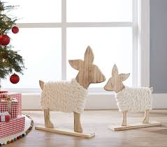 wooden deer decor pottery barn