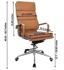 eames high back office chair camel vegan leather thick high