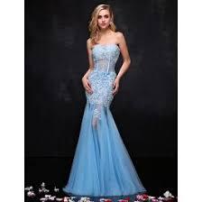 sweetheart sky blue evening dress applique lace pierced