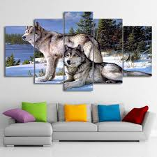 home decor wall art sunny and smile wolves canvas wall art
