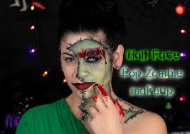 half face halloween makeup half face pop zombie makeup halloween tutorial youtube