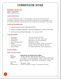 curriculum vitae format for freshers engineers pdf editor resume cv cover letter best resume templates sle