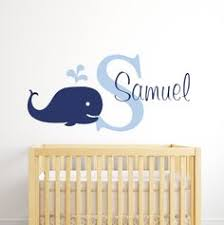 name wall decal whale wall decal nautical baby room decor