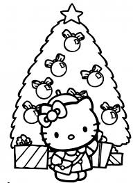 kitty standing front big christmas tree coloring pages