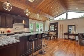Vaulted Ceiling Open Floor Plans Vaulted Wood Ceiling Kitchen Transitional With Open Floor Plan My