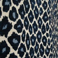 simba navy blue leopard chenille upholstery fabric blue and