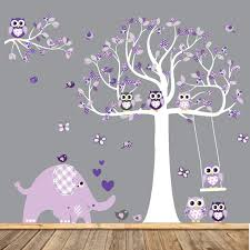 Purple Wall Decals For Nursery Vinyl Wall Decal Wall Decals Nursery Nursery Wall Decal Tree