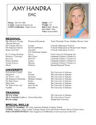 musical theatre resume examples resume example and free resume maker