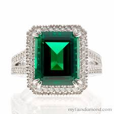 faux engagement rings cubic zirconia emerald cut gold engagement ring my faux