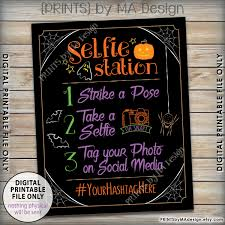 halloween selfie station sign spooky hashtag sign tag your photo