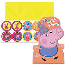 peppa pig birthday amscan peppa pig birthday party postcard thank you cards multicolor