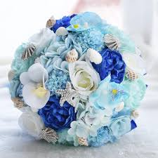 wedding bouquets with seashells 2017 seashell wedding bouquet silk flowers hydrangea 50th