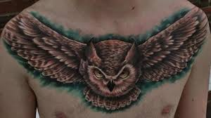 3d like detailed and colored evil flying owl on chest