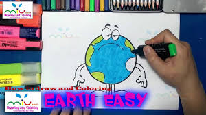 how to draw and color earth easy with color coloring pages for