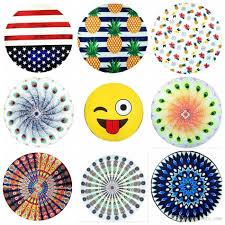 Portugal Flag Emoji Round Mandala Beach Towel 44 Styles American Flag Pineapple Emoji