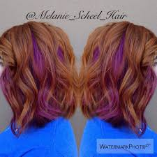 short hairstyles with peekaboo purple layer gorgeous natural looking ginger with peekaboo red violet for