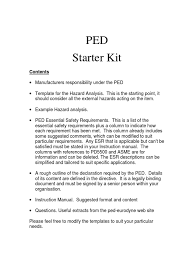 ped starter kit pipe fluid conveyance safety