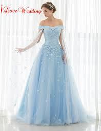 robe de mari e bleue 2017 bleu clair robes de mariée hors de l épaule dentelle tulle