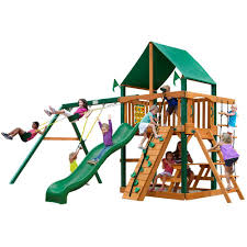 Amazon Backyard Playsets - gorilla playsets chateau with timber shield and deluxe green vinyl