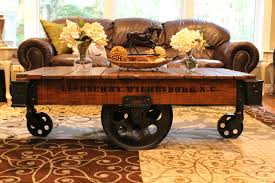 Car Wheel Coffee Table by Vintage Restored Lineberry Factory Cart Coffee Table