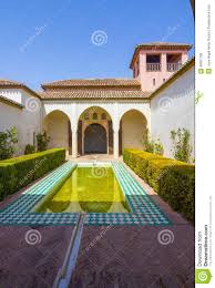 Famous Gardens Courtyards And Gardens Of The Famous Palace Of The Alcazaba In M