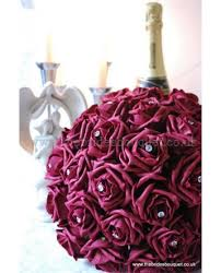Burgundy Roses Rose Bridal Bouquet Wedding Flowers Brides Posy Of Artificial
