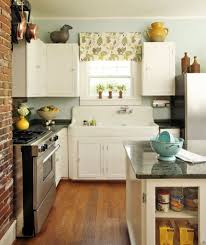 back to back sinks brick accent wall decor with stylish island using shelves and white