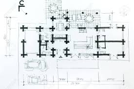 architectural drawing a sketch with pencil house plan stock architectural drawing a sketch with pencil house plan stock photo 27345744