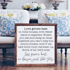 wood framed signboard love grows best square 26x26 woods