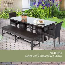 patio table with benches dining backyard outdoor set saturn