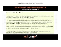 2017 paid media marketing budget excel template
