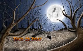 halloween spider background path in a dark spooky forest with fog on halloween stock photo