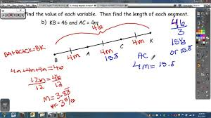geometry 1 3 using algebra to find the measure of segments youtube