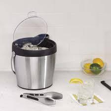 steel ice bucket and tongs set oxo