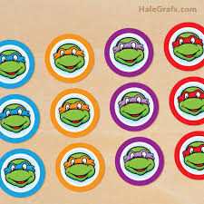 tmnt cake topper printable retro mutant turtle cupcake toppers