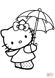lovely hello kitty under the umbrella coloring page free