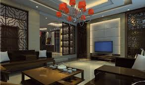 Chinese Living Room Chinese Living Room With Red Chandelier 3d House