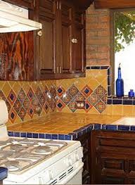 mexican tile kitchen backsplash blue yellow mexican tiles kitchen countertop and backsplash design