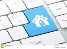 safety concept home on computer keyboard background stock