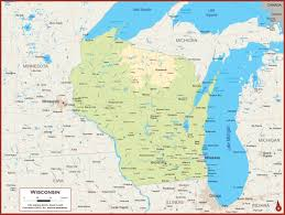 Maps Of Wisconsin by Wisconsin Physical State Map