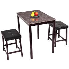 Kitchen Bar Furniture Costway 3 Pcs Counter Height Dining Set Faux Marble Table 2 Chairs