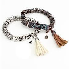metal bead bracelet images Arrow and tassel metal beaded bracelet patina or silver jpg