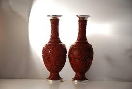 Cinnabar Vases Pair Of Chinese Silver Cinnabar Vases