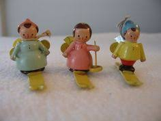 5 wood skis sleds figurines ornaments made in italy